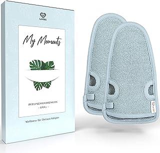 LoWell® - peelinghandschoen ruw incl. peeling gids + 2 x BONUS zuignap - luxe voor uw lichaam - wellness handschoen - douc...