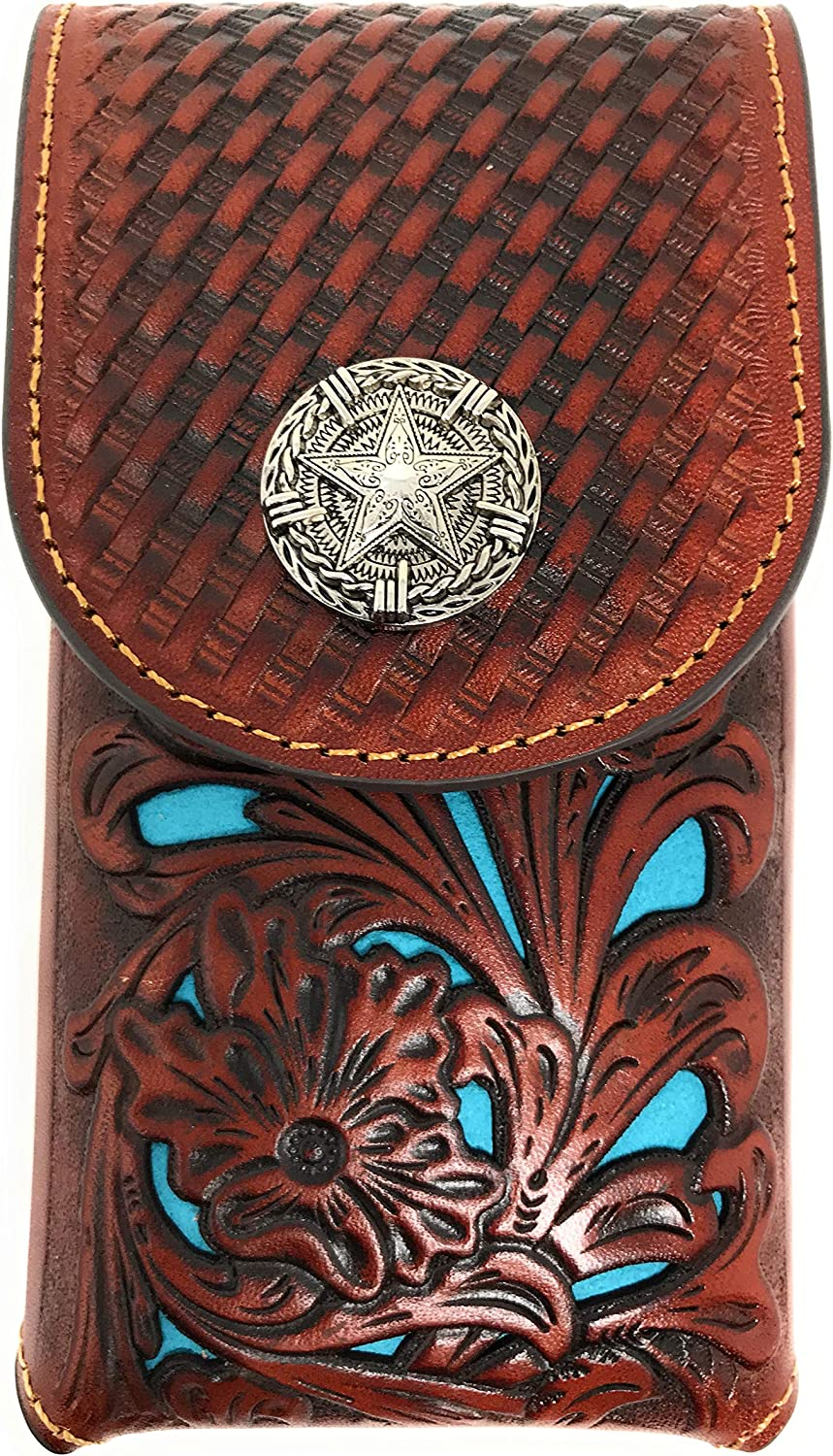 Texas West Western Cowboy Tooled Floral Leather Lone Star Concho Belt Loop Medium Cell Phone Holster Case (Brown/Turquoise)