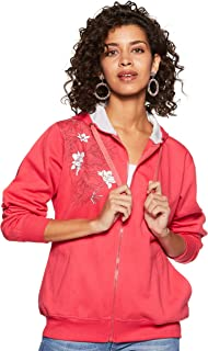 WOKNIT Printed Full Sleeves Womens Hooded Carrot Sweatshirt