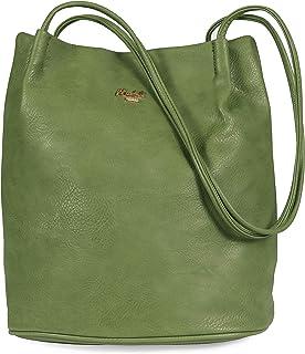 Mabel London Women's Fashion Designer Medium Size Plain Soft Vegan Leather Hobo Bucket Tote Shoulder Bag - Delilah