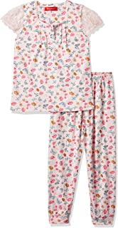 JOANNA Girl's Printed Flowers and Butterflies Pajama Set