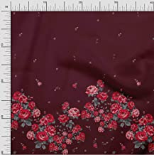 Soimoi Red Poly Crepe Fabric Leaves & Rose Panel Printed Craft Fabric by The Yard 42 Inch Wide