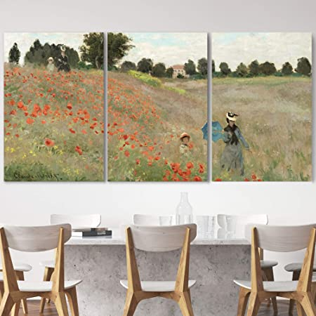 Wall26 3 Panel Canvas Wall Art Poppy Field By Claude Monet Giclee Print Gallery Wrap Modern Home Art Ready To Hang 24 X36 X 3 Panels Posters Prints