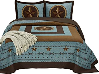 "Chezmoi Collection Tucson 3-Piece Western Star Cabin Lodge Design Soft-Washed Quilt Set Oversized 100"" x 106"" (Queen, Turq..."