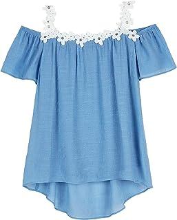 Amy Byer Girls' Cold Shoulder Short Sleeve Gauze Top
