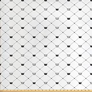 Ambesonne Abstract Fabric by The Yard, Kings Crown Classic Empire Royal on Contemporary Simplistic Display, Decorative Fabric for Upholstery and Home Accents, 2 Yards, Black White