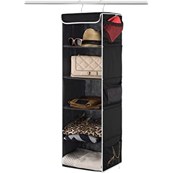 """ZOBER 5-Shelf Hanging Closet Organizer - 6 Side Mesh Pockets Breathable Polypropylene Hanging Shelves - for Clothes Storage and Accessories, 12"""" x 11 ½"""" x 42"""" (Black)"""