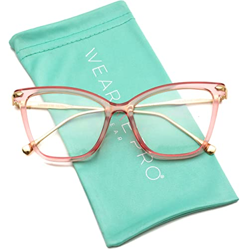 b7480fded8 WearMe Pro - New Elegant Oversized Clear Cat Eye Non-Prescription Glasses