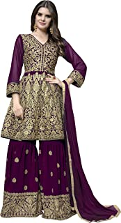 Ethnic Yard Womens Faux Georgette Anarkali Embroidered Semi Stitched Salwar Suit