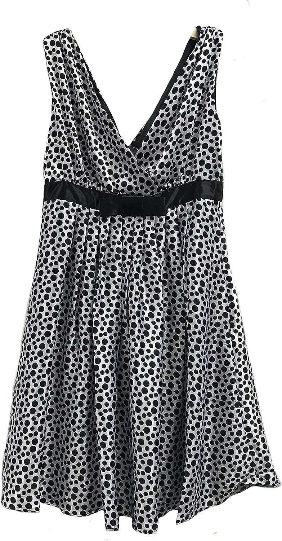 Women Casual V-Neck 1950s Vintage Sleeveless Polka Dot Swing Dress