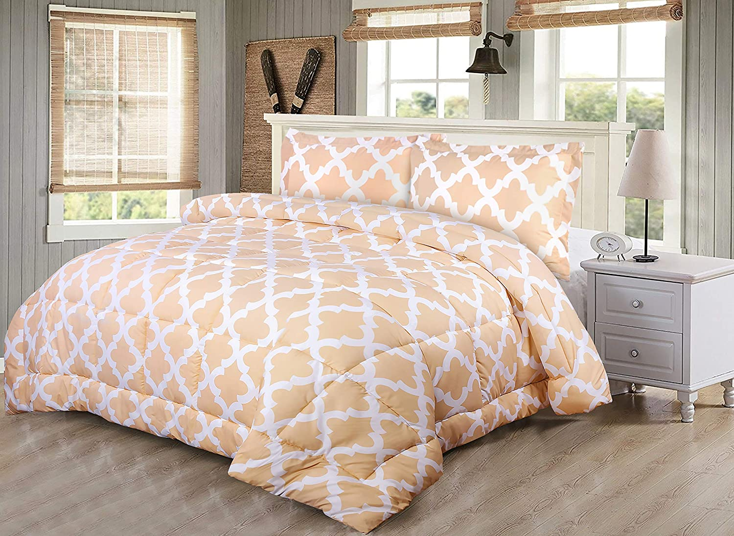 Utopia Bedding Printed Comforter Set (Queen, Beige) with 2 Pillow Shams - Luxurious Brushed Microfiber - Down Alternative Comforter - Soft and Comfortable - Machine Washable