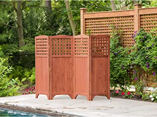 Leisure Season PS9662 Folding Patio and Garden Privacy Screen - Brown - 1 Piece - Portable Wooden Enclosure and Backyard Fence Panels - Indoor, Outdoor, Decks, Balcony Room Dividers and Wall Screens