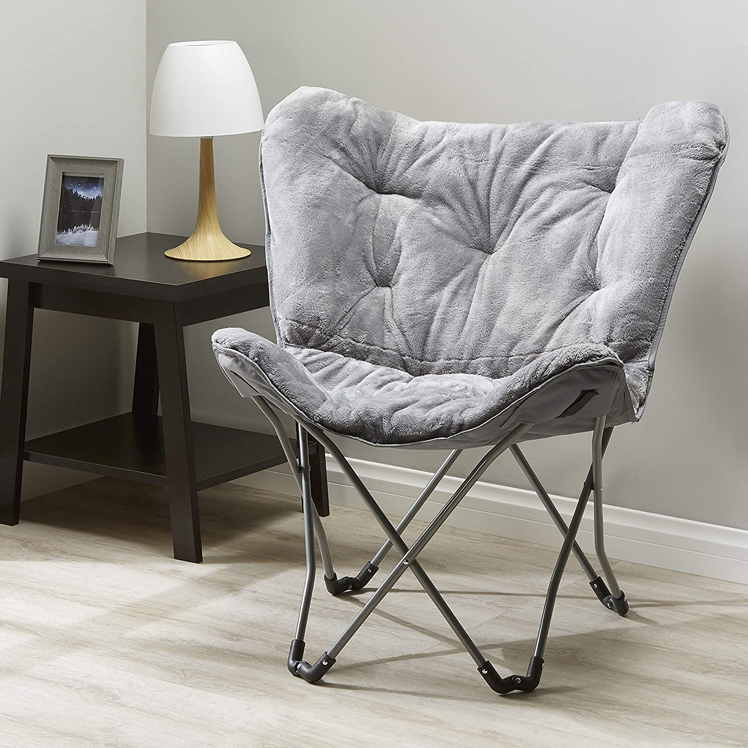 Mainstay Butterfly Chair in Teal Faux Fur Finish