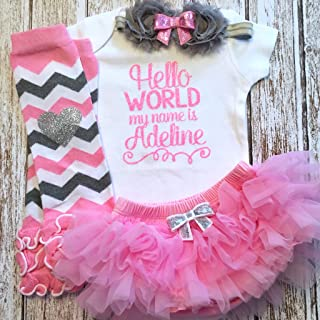 c4c49c92f Take Home Outfit Baby Girl Outfit Hello World Pink Silver Personalized Name  Optional Tutu Bloomers Headband