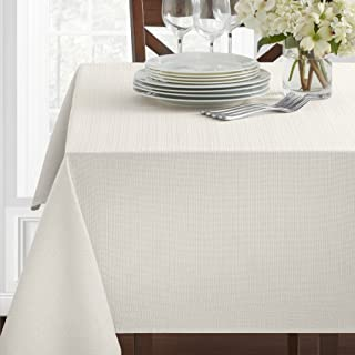Textured Fabric Tablecloth, White, 60