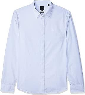 Armani Exchange Men's 8NZCBA Shirt, Multicolour (Light Blue Stripe 6587), L