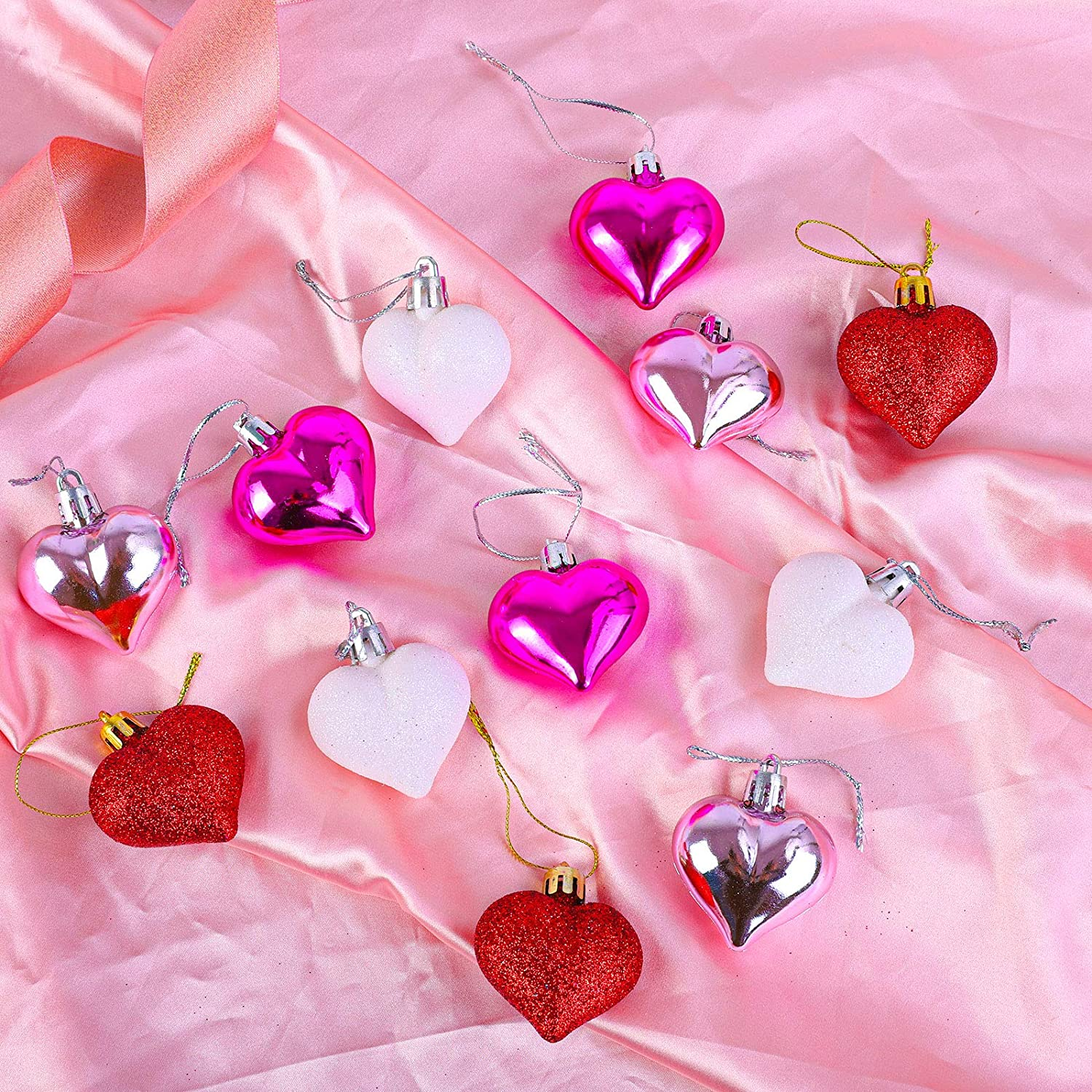 Aneco 36 Pack Valentines Heart Baubles Heart Shaped Ornaments for Valentines Day Decoration or Home Decor 3 Styles