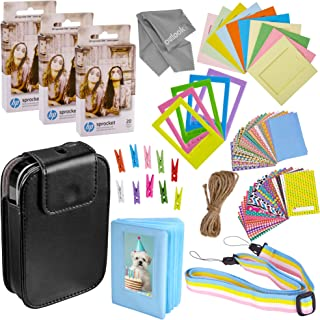 Zink Photo Paper and Frames Kit – 60 Pack - Sticker Paper for HP Sprocket 2-in-1 Portable Printer - Sticky 2x3 Sheets for Printing Pocket Size Phone Pictures - with Photo Album, Case, Frames, Clips