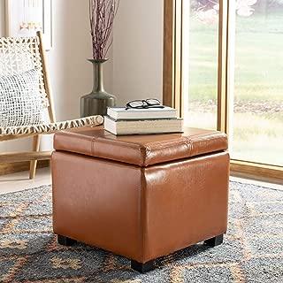 Safavieh Hudson Collection Williamsburg Saddle Leather Square Storage Ottoman