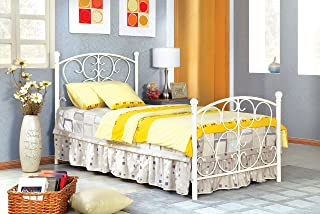 Furniture of America Delia Princess Metal Youth Bed, White
