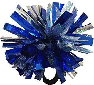 kuugear Set of 3,  Wearable 2-Color 2 Metallic Pom Poms for Cheerleading,  Team Spirit,  Party Costume,  Ponytail Holder,  Holiday Celebration,  and Decor