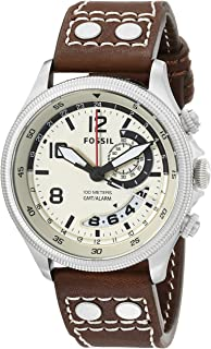 Fossil Men's FS5043 Recruiter Stainless Steel with Brown Leather Band