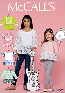 McCall Patterns M7559CHJ Children's/Girls' Peplum-Style Tops with Trim Variations