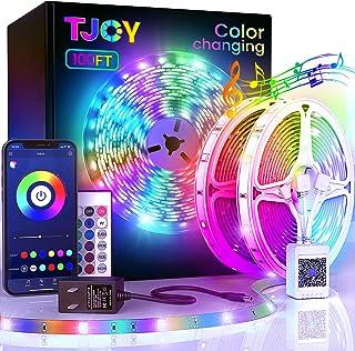 100ft Bluetooth LED Strip Lights, SMD5050 Music Sync LED Lights Strip, RGB Color Changing LED Lights with Remote,Smart Pho...