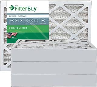 FilterBuy 16x25x4 MERV 13 Pleated AC Furnace Air Filter, (Pack of 4 Filters), 16x25x4 – Platinum