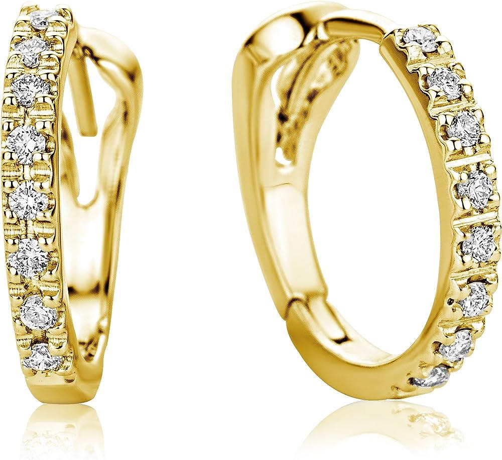 Miore orecchini donna cerchio diamanti ct 0.10 oro giallo 18 kt / 750 (1.78 grammi) M0486Y