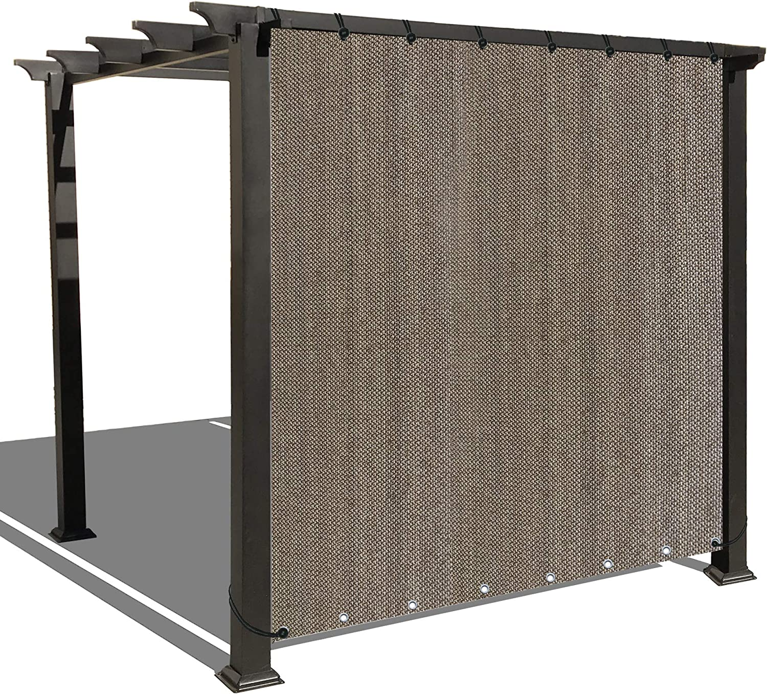 Alion Home Custom Sized Outdoor Sun Shade Privacy Panel with Grommets on 2 Sides for Patio, Awning, Window (10' x 6', Walnut)