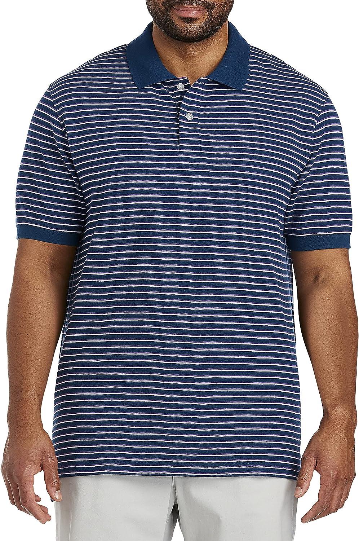 Harbor Bay by DXL Big and Tall Bi-Stripe Polo Shirt, Blue Multi
