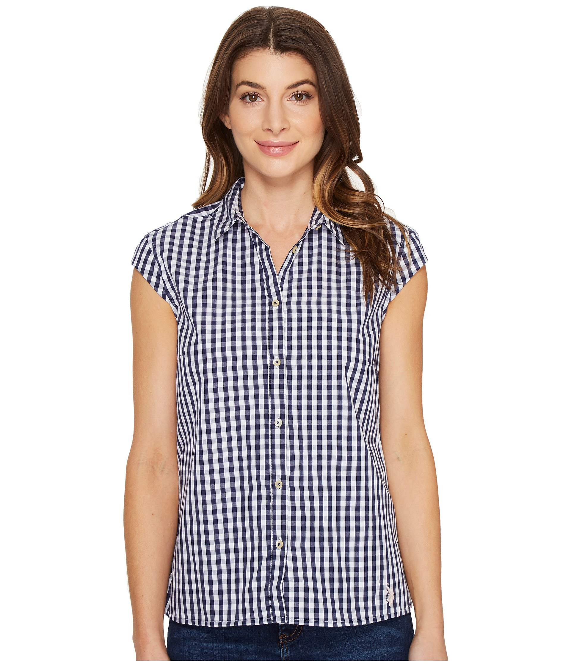 Blusa para Mujer U.S. POLO ASSN. Classic Short Sleeve Gingham Blouse  + U.S. POLO ASSN. en VeoyCompro.net