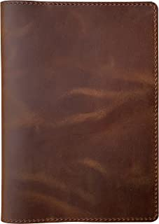 """$28 » Leather Notebook Cover for Moleskine Large Size, Cahier/Volant/Classic, A5 Journal Cover, 6.7""""x9"""", Brown"""