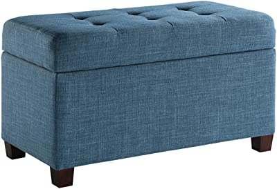 OSP Home Furnishings Metro Tufted Rectangular Storage Ottoman with Padded Upholstery and Soft Closing Hinges, Blue Fabric