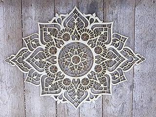 دکوراسیون منزل چوب ماندالا ، دیوار آویز بومو ، دیوار آویز ، دیوار هنر هند مراکش ، استودیوی یوگا هندسه مقدس ، هدیه معنوی دست ساز منحصر به فرد