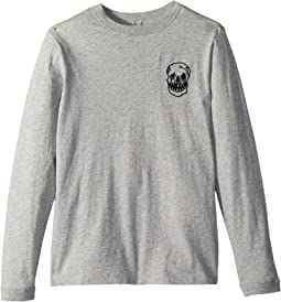 Stella McCartney Kids Gene Long Sleeve 'That's Ace' T-Shirt w/ Skull Embroidery (Toddler/Little Kids/Big Kids)