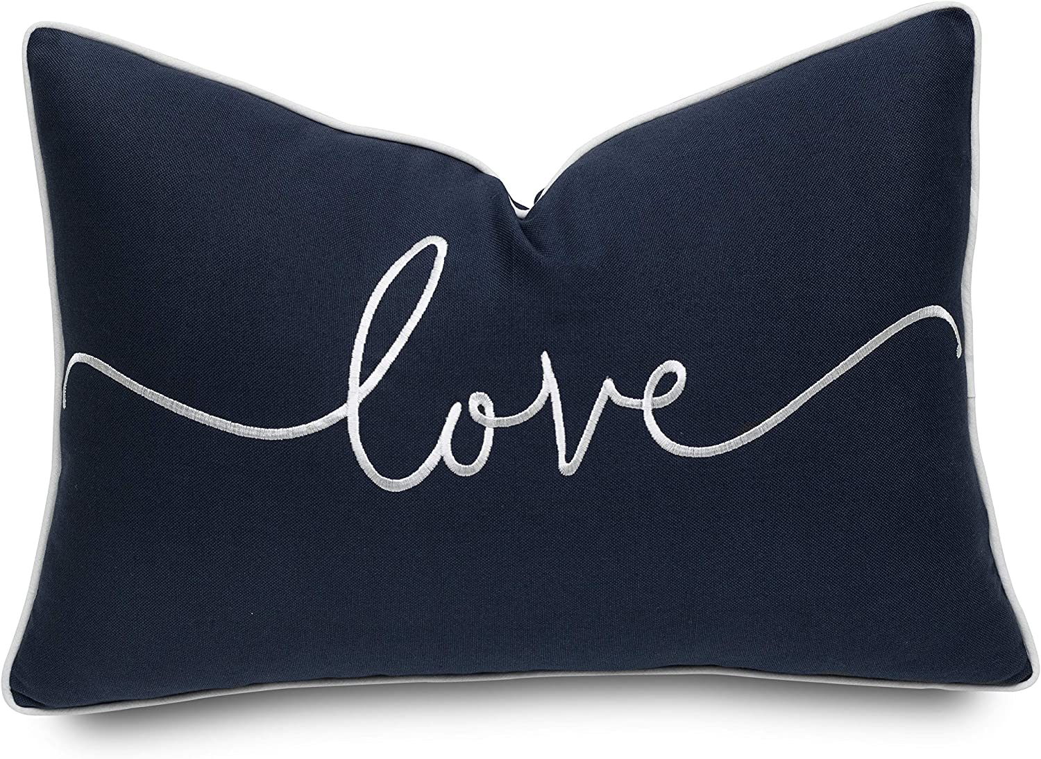 YugTex Love Sentiment Embroidered Lumbar Accent Throw Pillow Cover - Gift for Mom, Valentine - 12x18, Navy Blue