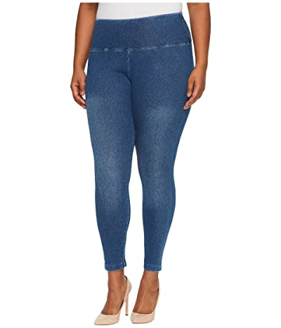 Lysse Plus Size Denim Leggings (Mid Wash) Women