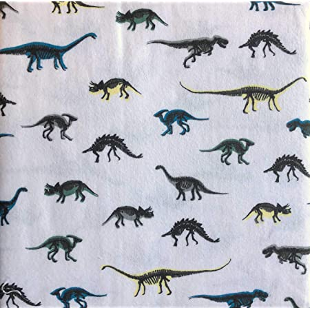 Moon and Stars 3 Piece Cotton Flannel Twin Size Single Bed Sheet Set Dinosaur Silhouettes Black on White with Colorful Shadows