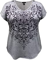 LEEBE Women's Plus Size V-Neck Dolman Short Sleeve Print Top (1X-5X)