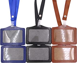 ID Badge Holder – 6 Pack One Sided PU Leather Heavy Duty Identity Card Holders Horizontal Name Tags Case with 18 inch Long Neck Lanyard Strap, Vinyl Clear Window for Men Women in Business/Office