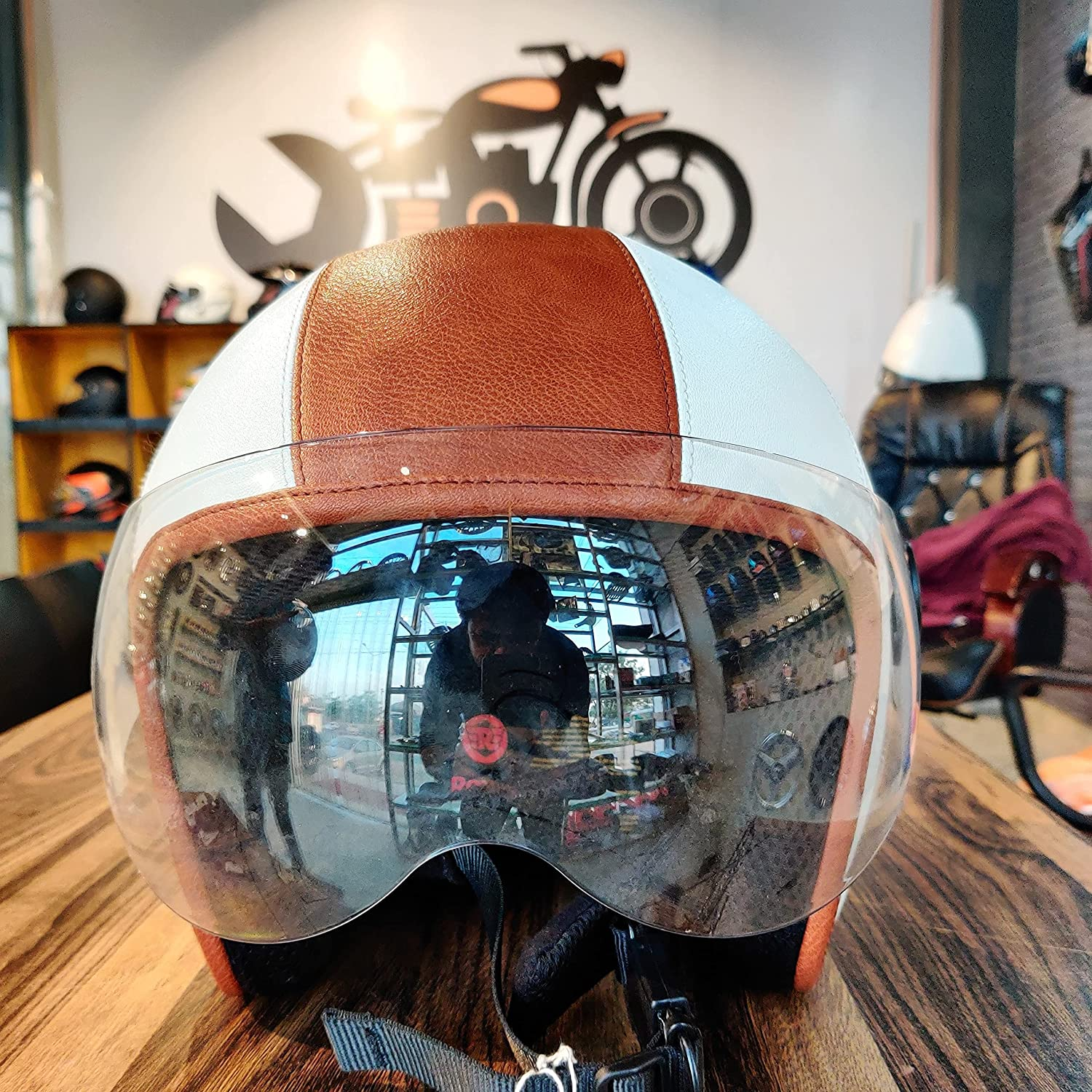 THE BIKERZ Leather Half White Brown FACE Max 84% OFF Fort Worth Mall Helmet