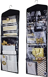 Regal Bazaar Large Double-Sided Hanging Gift Bag Organizer and Tissue Paper Holder (Black)