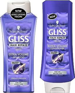Gliss Hair Repair - Extra Volume - Shampoo & Conditioner Set - Net Wt. 13.6 FL OZ (400 mL) Per Bottle - One Set …