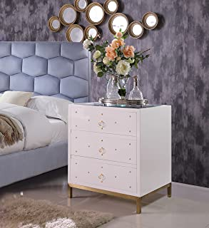 Iconic Home Florence Nightstand Side Table Mirror Glass Top with 3 Self Closing Lacquer Drawers Brass Finished Stainless Steel Frame Base, Modern Contemporary, White