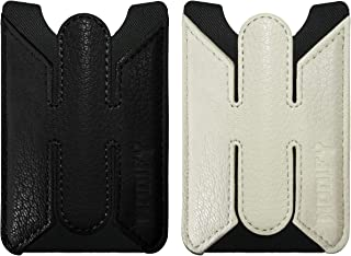 ReachTech Leather Phone Card Sleeve Holder Stand, Slim Stick on Adhesive Credit Card Pocket Wallet iPhone, Android & Most Smartphone Devices/Cases (2 Pack - Black & White)