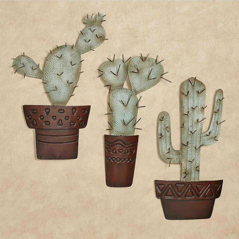 unisex Cactus Metal Wall Art Green Set Three Style Southwestern Albuquerque Mall G of