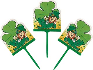 Wilton Fun Pix Happy St. Patrick's Day Green Cupcake Toppers and Appetizer Picks – Lucky Saint Patricks Irish Clover Shamrock and Leprechaun – Party Decorations Supplies - 24 Pack