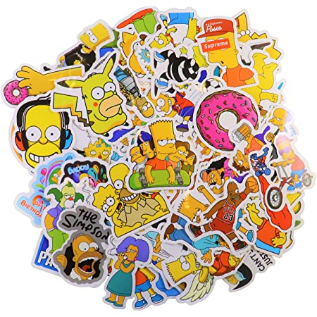 Simpsons Vinyl Stickers Decals For Laptop Guitar Luggage Skateboard Car 50Pcs